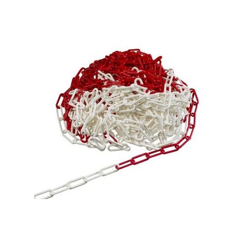 Plast kæde rød/hvid 25m