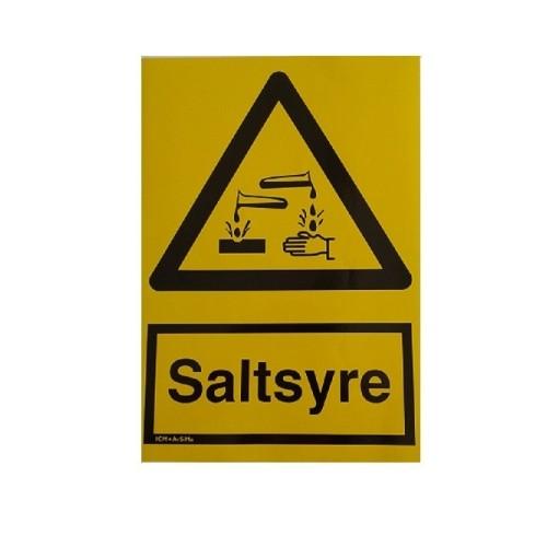 Fare mærke, Saltsyre. størrelse A4