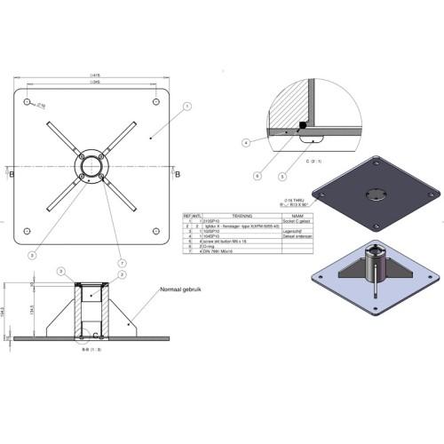Sokkel til handicaplift, 200SP10 (C)