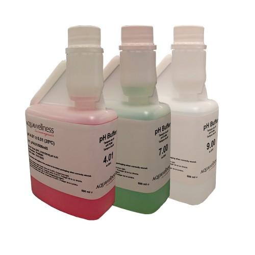 Buffersæt med pH væskerne 4, 7 og 9 - 3 x 0,5 l.
